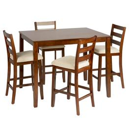 Light Oak Upholstered High-Top Gathering Table & Chairs Set, 5-Piece