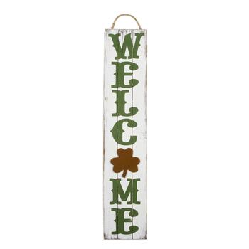 "28"" ""Welcome"" Shamrock Wall Hanging Plaque"