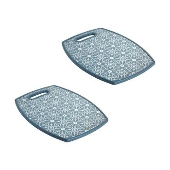 "The Grainhouse™ 12""x15"" Blue Tiles Cutting Boards, Set of 2"