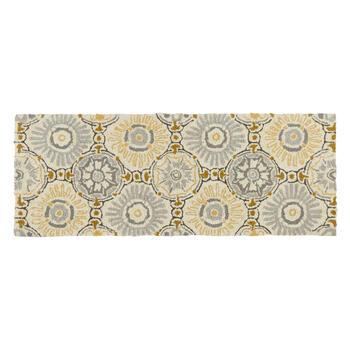 Gray/Yellow Medallions All-Weather Hand-Hooked Rug view 3