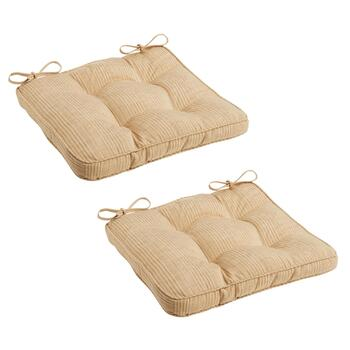 Romano Stripe Tufted Square Chair Pads, Set of 2