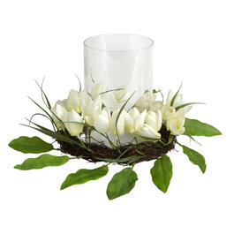 White Flower Nest Candle Holder Centerpiece view 1