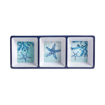 Blue Starfish and Coral 3-Section Melamine Trays, Set of 4 view 2