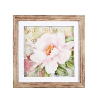 "16"" Layered Pink Flower Framed Wall Art"