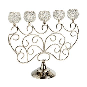 5-Cup Scrolling Crystal-Style Candelabra view 1