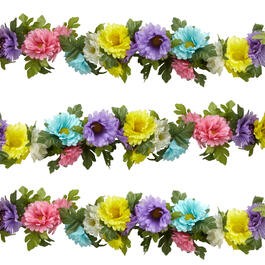 5' Pastel Daisies Artificial Flower Garland view 1