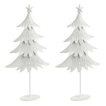 "18"" Tall Glittery Metal Christmas Trees, Set of 2"