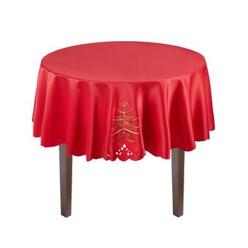 Red Christmas Tree Cutwork Tablecloth view 2