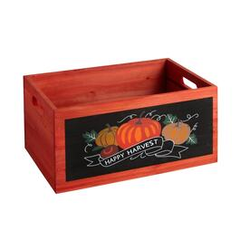 "11""x15.5 ""Happy Harvest"" Wood Storage Crate"