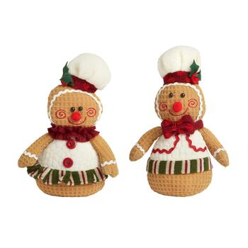 "8"" Plush Gingerbread Sitters, Set of 2"