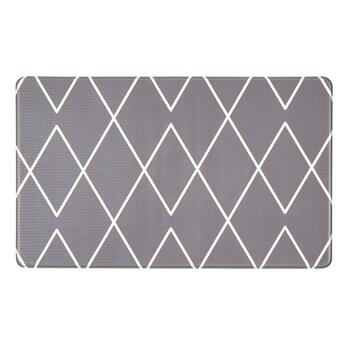Gray/White Diamond Cushioned Floor Mat
