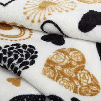 Black/Gold Hearts Plush Throw view 2