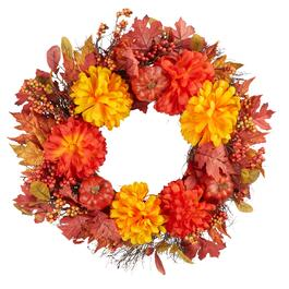 "20"" Chrysanthemum Pumpkin Wreath"