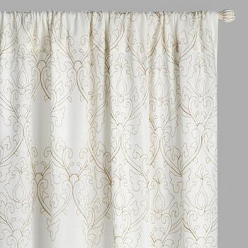 Ivy Scroll Rod Pocket Window Curtains, Set of 2