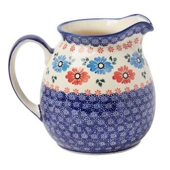 Polish Pottery Blue/Red Floral Drink Pitcher