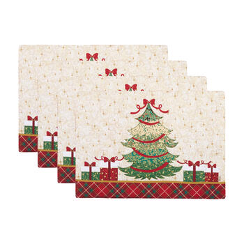 Christmas Tree Plaid Edge Placemats, Set of 4 view 1
