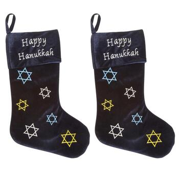 """Happy Hanukkah"" Velvet Holiday Stockings, Set of 2"