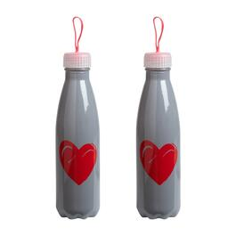 Gray Heart Glass Sport Bottles, Set of 2