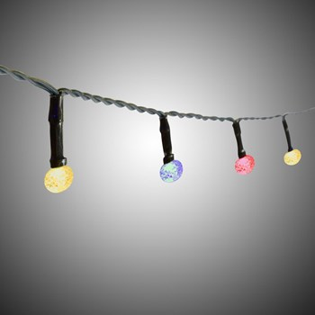 7' Round Textured Multicolored LED Indoor String Lights, Set of 4