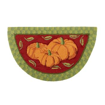 "18""x30"" Red/Green Pumpkin Trio Hooked Slice Area Rug"