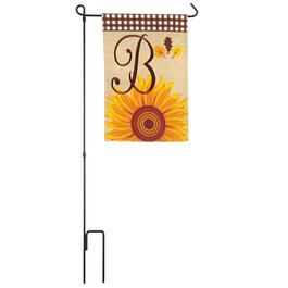 Sunflower and Leaves Mini Monogram Flag