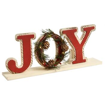 "14"" ""Joy"" Light-Up Pinecone Wreath Sitter"