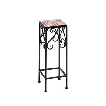 "20"" Mosaic Tile Scroll Square Plant Stand"
