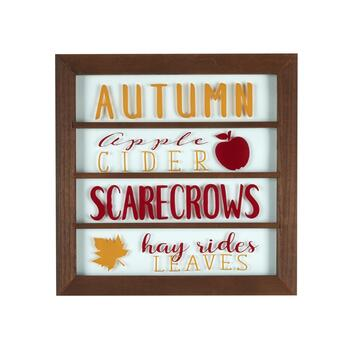 "18"" ""Autumn, Cider, Scarecrows, Leaves"" Framed Wood/Glass Wall Decor"