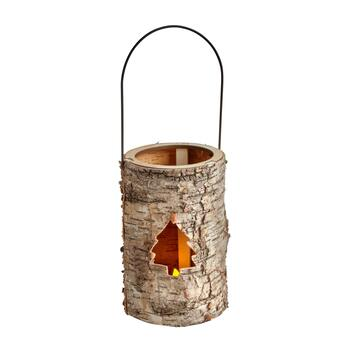 "7.25"" Birch Tree Cutout LED Candle Holders, Set of 2"