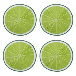 "14.5"" Lime Round Ribbed Placemats, Set of 4"