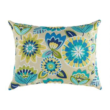 Yellow/Blue Floral Indoor/Outdoor Square Throw Pillow