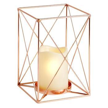 Open Geometric Lantern with Flameless Pillar Candle - Christmas Tree ...