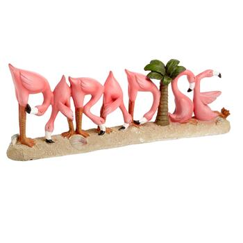 """Paradise"" Pink Flamingos Sign"