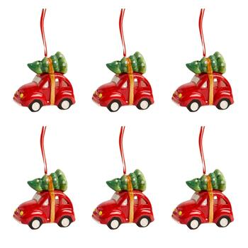 Red Car Ceramic Ornaments with LED Trees, Set of 6