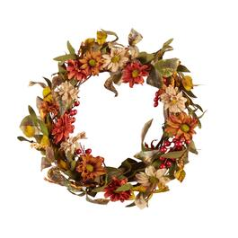 "The Grainhouse™ 23"" Poppies Artificial Twig Wreath"