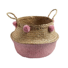 "14.5"" Two-Tone Seagrass Storage Basket with Pom-Poms view 1"