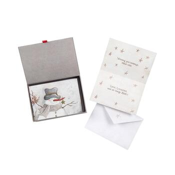 Snowman Glitter Holiday Cards & Keepsake Box, 14-Count