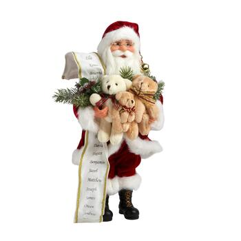 "16"" Teddy Bear Trio Decorative Santa"