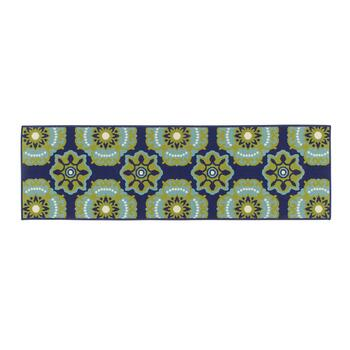 Dark Blue/Green Medallion All-Weather Area Rug view 2 view 3