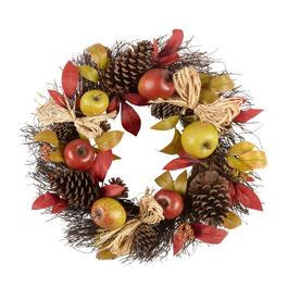 "22"" Red/Green Apples, Pinecones and Burlap Bows Artificial Twig Wreath"