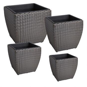 Handwoven Rattan Planter with Square Insert