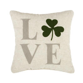 """Love"" Shamrock Square Throw Pillow view 1"
