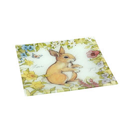 Bunny Floral Square Glass Platter view 1