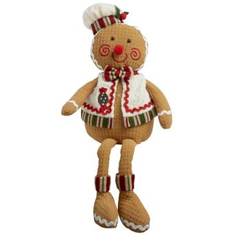 Dangling Legs Plush Gingerbread Sitter with Candy Vest