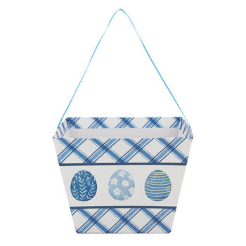 Blue & White Printed Easter Egg Bucket view 2