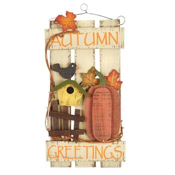 "16.75"" ""Autumn Greetings"" Wood Fence Wall Hanger"