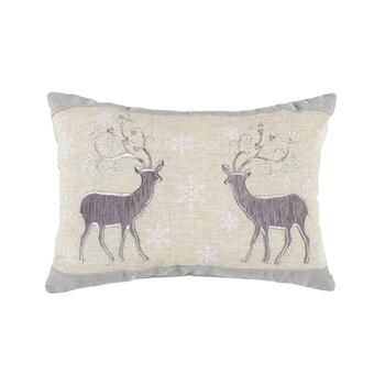 Reindeer Couple Embellished Cotton Blend Oblong Throw Pillow