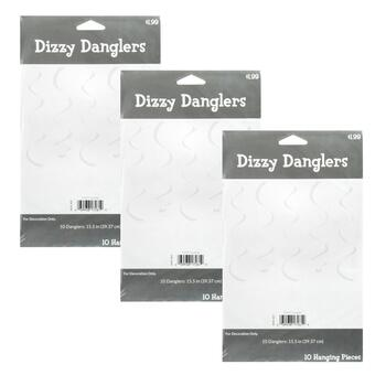10-Piece White Dizzy Danglers with String, Set of 3
