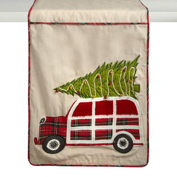 Christmas Tree on Car Beaded Table Runner view 1