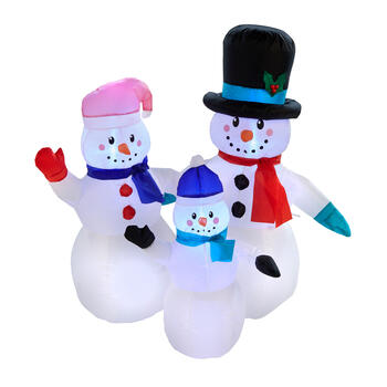"49""Airblown® Inflatable Lighted Snowman Trio view 1"